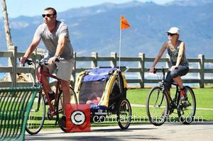 Naomi Watts and her boyfriend Liev Schreiber and their children Sasha and Sammy on a family cycle ride near the...