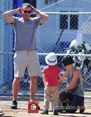 Naomi Watts and her boyfriend Liev Schreiber and their children Sasha and Sammy on a family day out near the...
