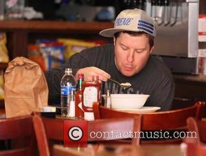 Nick Swardson enjoys a bowl of soup for lunch at the Beverly Grill in Beverly Hills Los Angeles, California, USA...