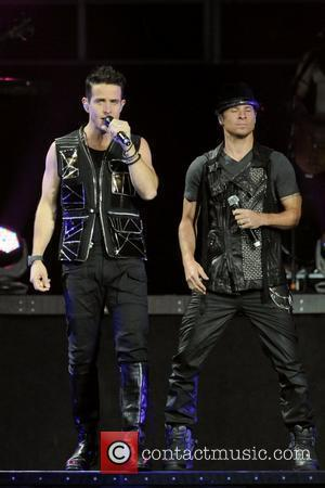 Joey McIntyre and Brian Littrell NKOTBSB Tour - New Kids On The Block and Backstreet Boys perform on stage at...
