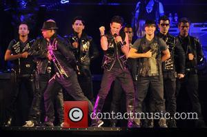 Joey McIntyre with NKOTBSB, New Kids on the Block and Backstreet Boys   performing live in concert on the...