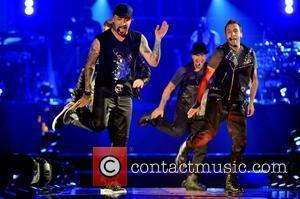 A.J. McLean and Howie Dorough of Backstreet Boys   performing live in concert on the NKOTBSB Tour at the...