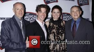 Christian Borle, Craig Zadan, Debra Messing and The Hudson Theatre