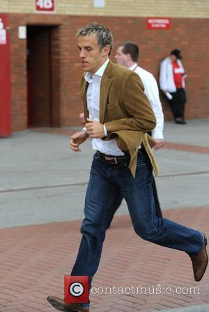 Phil Neville Departures from Old Trafford following Manchester Utd's victory over Chelsea Manchester, England - 08.05.11