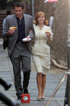 Goran Visnjic and Kelli Garner  on the set of 'Pan Am', filming on location in Brooklyn New York City,...