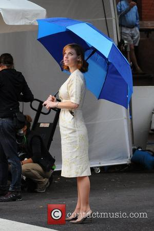 Kelli Garner  on the set of 'Pan Am', filming on location in Brooklyn New York City, USA - 20.09.11