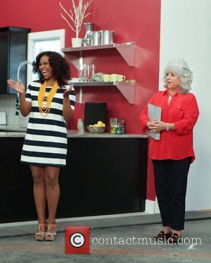 HGTV Design Star host Tanika Ray and guest judge Paula Deen during episode Kitchen Configuration challenge on HGTV Design Star...