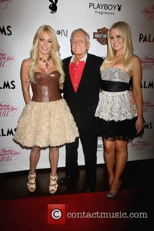 Crystal Harris, Hugh Hefner, Anna Berglund  Playboy's Playmate of the Year 2011 at Moon Nightclub at The Palms Hotel...
