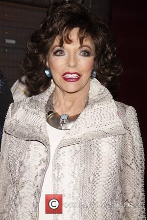 Joan Collins Real Divas meet Broadway Divas backstage at the musical 'Priscilla: Queen of the Desert' at the Palace Theatre....