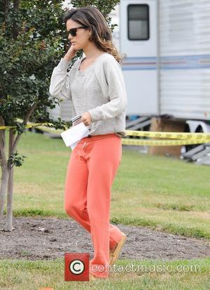 A glum-looking Rachel Bilson arriving to shoot scenes for 'The To Do List' wearing orange sweatpamts Calabasas, California - 14.07.11