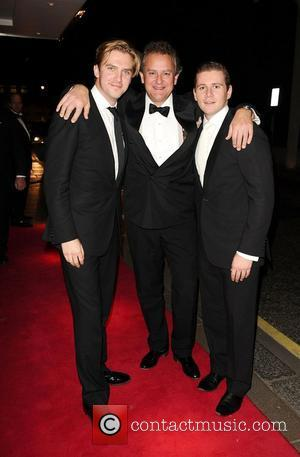Thomas Howes, Hugh Bonneville and Allen Leech arrives at the Rainbow Trust's Silver Jubilee Ball, The Savoy Hotel. London, England...