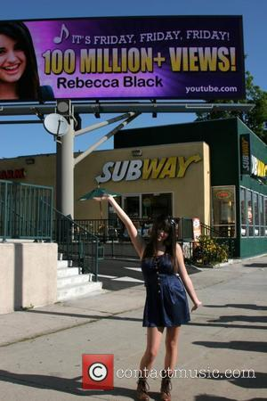 Rebecca Black attends the unveiling of the digital billboard at LaBrea & San Vincente celebrating her debut single 'Friday' reaching...