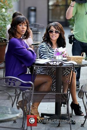 Kelly Rowland and LaLa Vazquez filming a reality show segment at Cuvee on Robertson Boulevard Los Angeles, California - 16.03.11