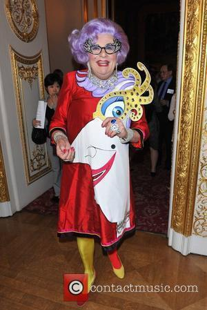 Dame Edna Everage aka Barry Humphries Royal Wedding - international media event held at Lancaster House. London, England - 26.04.11