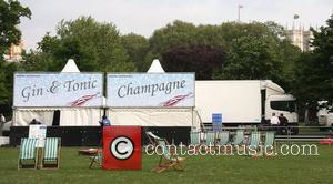 Hospitality tents incluse Gin and Tonic and Champagne stalls Preparations for the Royal Wedding of Prince William and Kate Middleton...