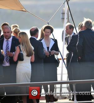 Princess Anne Zara Phillips and fiancee Mike Tindall enjoy cocktails aboard the Royal Yacht Britannia on the eve of their...