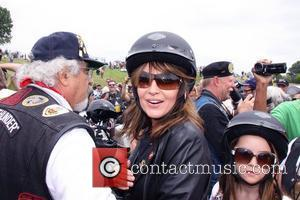 Sarah Palin Rides Harley-davidson At Bike Rally