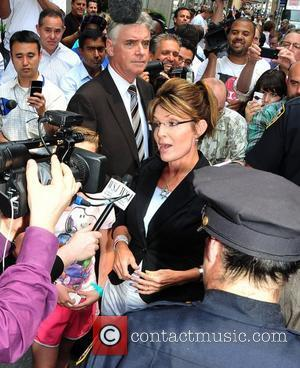 Sarah Palin visits the FOX News studio in Manhattan during her 'One Nation' bus tour around America. Palin is spotted...