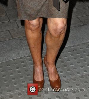 Anne Robinson leaving Scotts restaurant in Mayfair showing a pair of well tanned knobbly kness London, England - 15.09.11