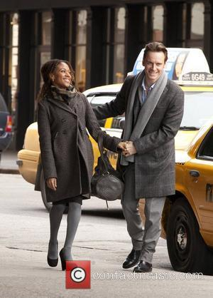 Michael Fassbender and Nicole Beharie on the set of 'Shame' in the West Village New York City, USA - 01.03.11