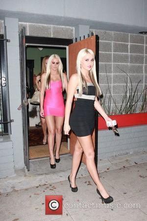 Kristina Shannon and Karissa Shannon depart a recording studio and head to Drai's nightclub Los Angeles, California - 27.10.11