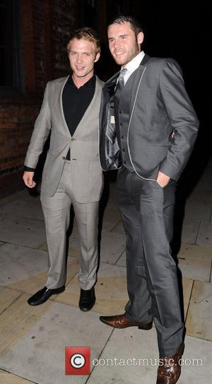 Chris Fountain and Danny Miller arrive for Jack P. Shepherd and Lauren Shippey's engagement party at Great John Street Hotel...