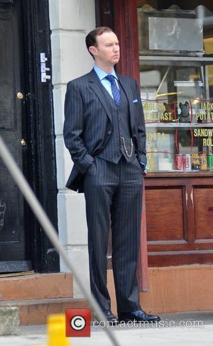 Mark Gatiss  Martin Freeman and Mark Gatiss are seen filming in North West London for the Sherlock Holmes TV...