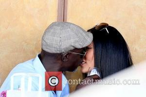 Djimon Hounsou and Kimora Lee Simmons  celebrate her 36th birthday with lunch at Il Pastaio in Beverly Hills Los...