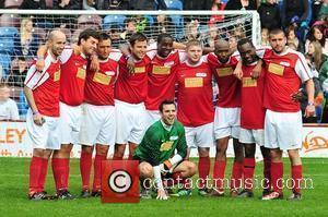 Mark Wright, James 'Arg' Argent and Plan B with their team The Celebrity Soccer Six tournament held at Turf Moor...