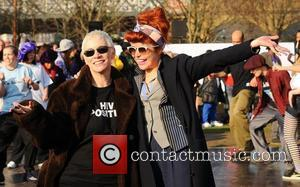 Annie Lennox and Paloma Faith Celebrities dance the 'Soul Train' to celebrate the 100th anniversary of International Women's Day at...