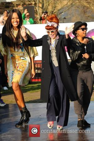 VV Brown, Paloma Faith and Speech Dabelle Celebrities dance the 'Soul Train' to celebrate the 100th anniversary of International Women's...