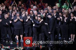 The Edge, Bono, Julie Taymor, Philip William McKinley, cast & crew Opening night of the Broadway musical production of 'Spider-Man...