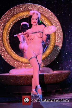 Dita Von Teese performs live as part of her 'Strip Strip Hooray' show at the Roxy Theatre Los Angeles, California...