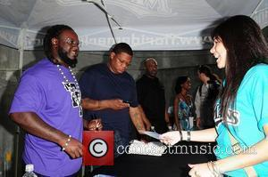 Rapper/Producer T-Pain attends and sign autograph for fans pre-game festivities during the Florida Marlins Vs. The Washington National Baseball game...