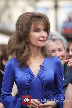 Actress Susan Lucci filming an interview for the entertainment television news programme 'Extra' at The Grove in Hollywood Hollywood, California...