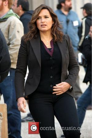 Mariska Hargitay on the set of her TV show 'Law & Order: Special Victims Unit' shooting on location in Manhattan...