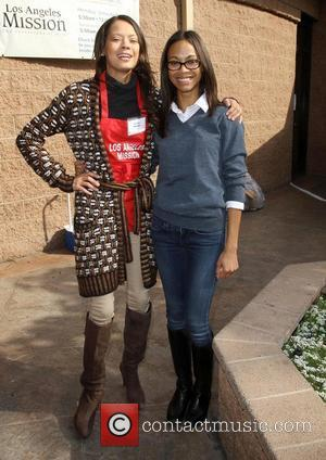 Keisha Whitaker, Zoe Saldana 75th anniversary of the Los Angeles Mission serving Thanksgiving dinner to the homeless, held at the...