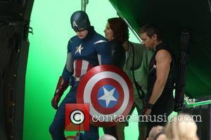 Chris Evans, Jeremy Renner and Scarlett Johansson