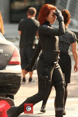 Scarlett Johansson on the film set of 'The Avengers', shooting on location in Manhattan  New York City, USA -...