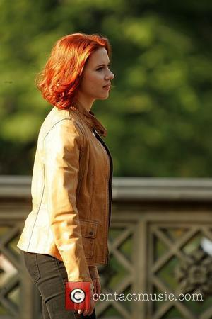 Scarlett Johansson actors on the set of 'The Avengers' shooting on location in Manhattan New York City, USA - 02.09.11