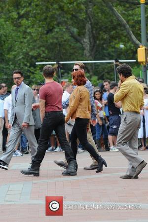 Scarlett Johansson, Jeremy Renner, Chris Evans, Mark Ruffalo, Robert Downey Jr  on the film set of 'The Avengers', shooting...