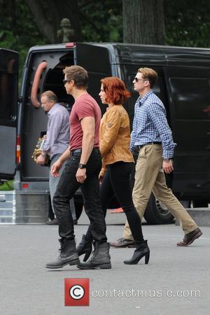 Scarlett Johansson, Chris Evans and Jeremy Renner