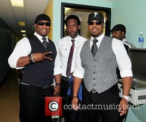 Wanya Morris, Shawn Stockman and Nathan Morris of Boyz II Men  backstage during Best of the '90s Concert held...
