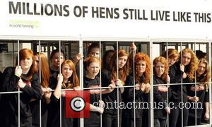 The Big Move - Photocall to raise awareness about the upcoming ban on barren battery caged hens held in Trafalgar...