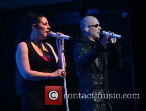 Joanne Catherall and Phil Oakey  The Human League performing live at the Paradiso Amsterdam, Netherlands - 19.04.11