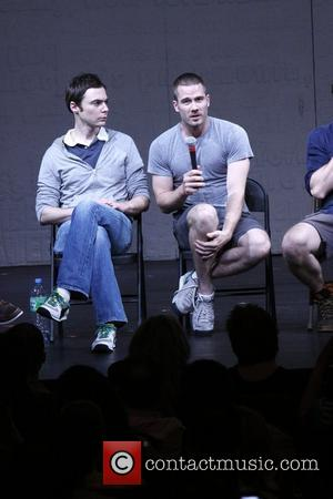 Jim Parsons and Luke Macfarlane Post-show talk back with the cast of the Broadway production 'The Normal Heart' at the...