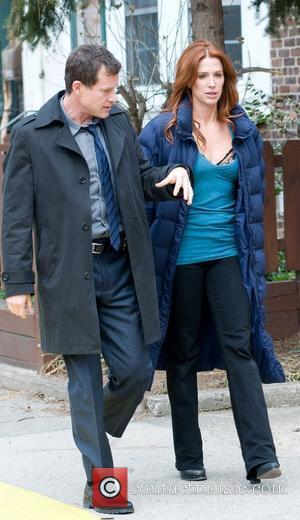 Dylan Walsh and Poppy Montgomery The cast of 'The Rememberer' film on location in Queens New York City, USA -...