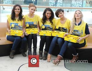 Rochelle Wiseman, Una Healy, Vanessa White, Frankie Sandford and Mollie King The Saturdays at a photo call for Marie Curie...