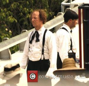 Sean Hayes on the set of the 'Three Stooges' re-make, being filmed on location in Atlanta, Georgia. The project is...