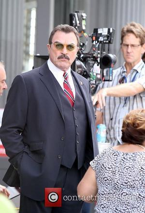 Tom Selleck is seen shooting on location for the CBS TV Series 'Blue Bloods' in New York City New York...